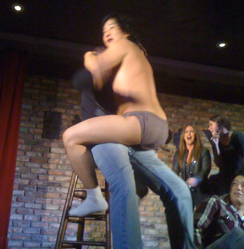 And now for Bobby's favorite part of the show! He strips down to his underwear and jumps on random guys from the audience.