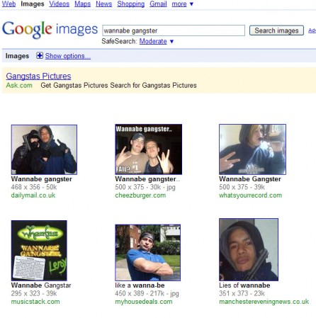 "Google's search results for ""Wannabe Gangster"" on 11/4/2009."
