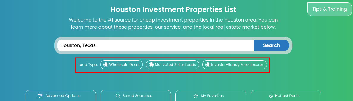 Investment Properties Search Tool
