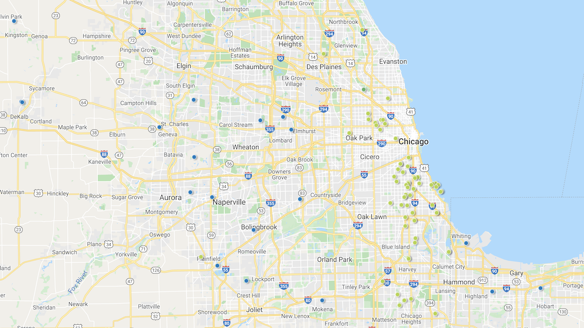 Heat map of investment properties in the Chicago market