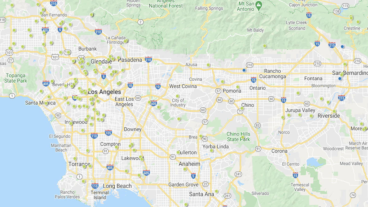 Heat map of investment properties in the Los Angeles market