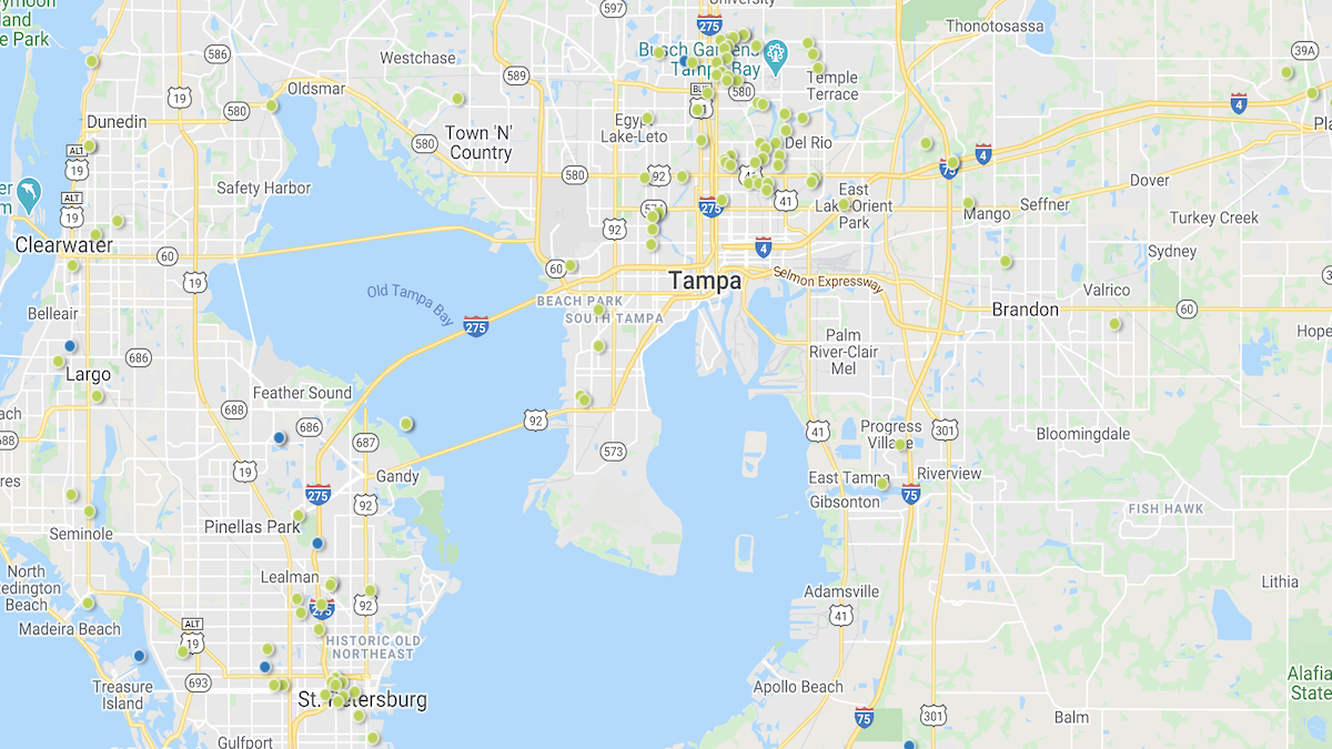 Heat map of investment properties in the Tampa Bay market