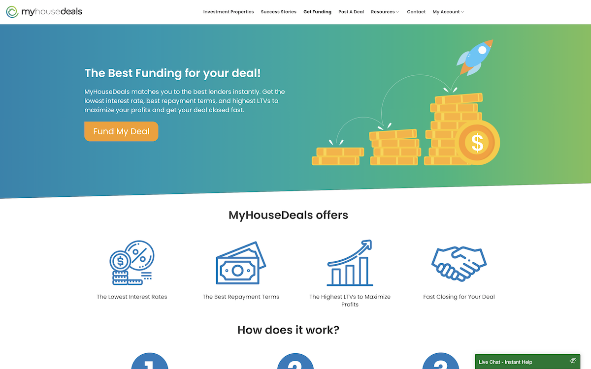 Our get funding landing page to find a private money lender.