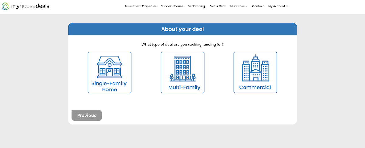 A screenshot of the first step in the process to find a private money lender: what type of property is it?