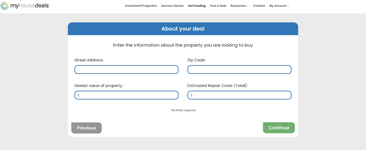 The fourth step in the process - letting us know the address of your property