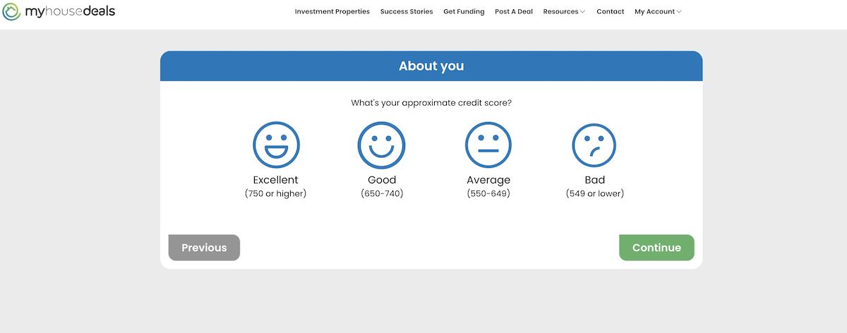 A screenshot asking to tell us your credit score range