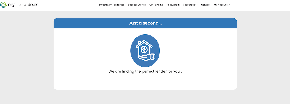 A screenshot showing that we'll work on finding a private money lender for you.