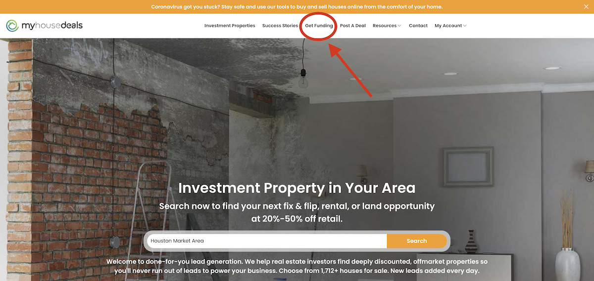 A screenshot of our home page telling investors where to go to find the get funding funnel to find a private money lender.