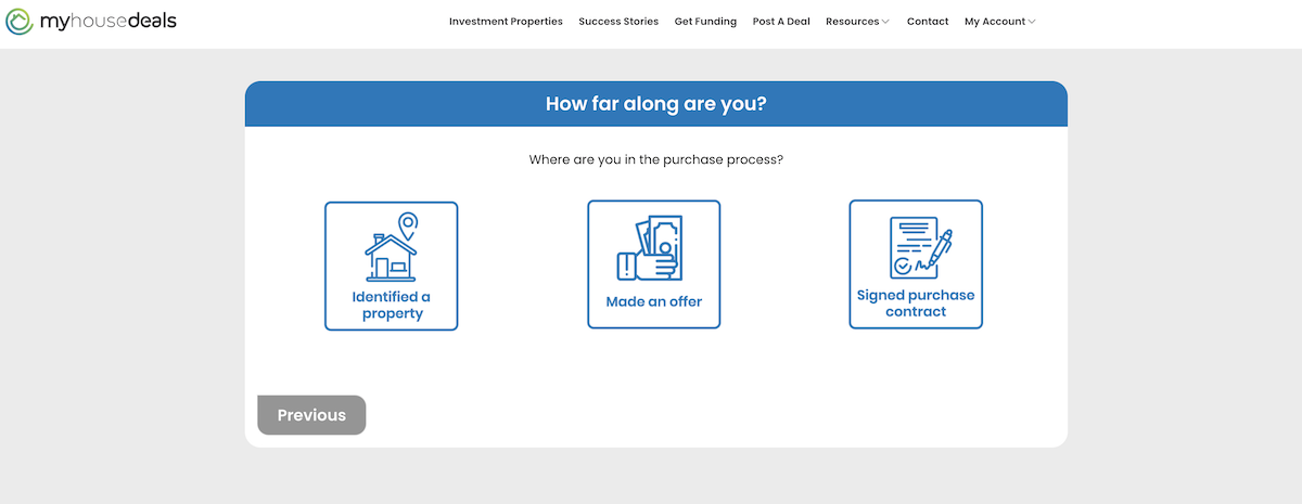 A screenshot of the third step, where are you in the purchase process?