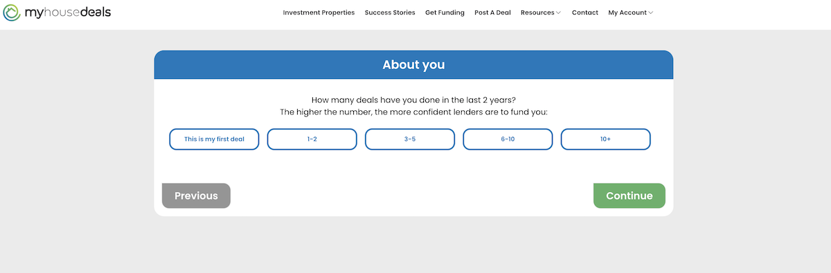 A screenshot asking how long you've been investing