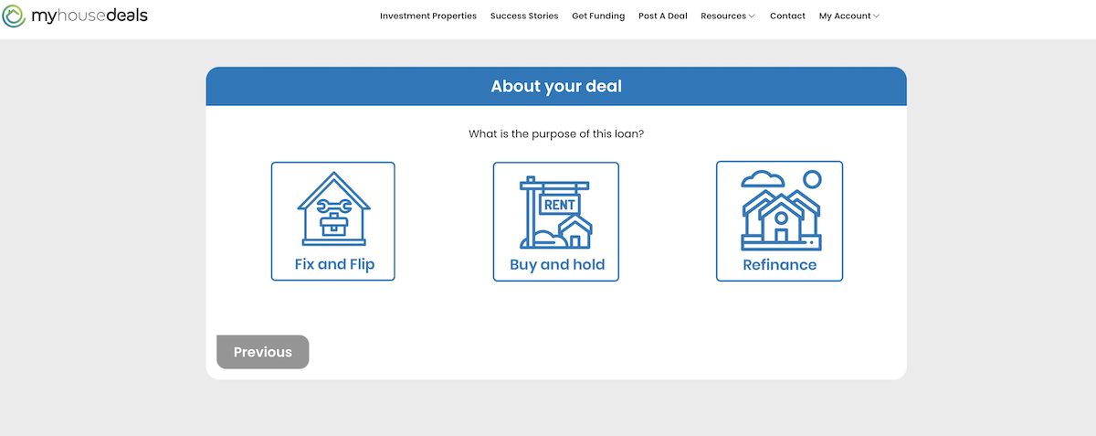 A screenshot of the second step in the process, telling us what you plan to do with the property?