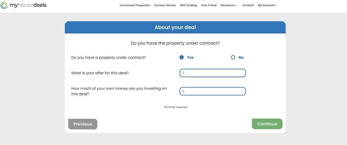 A screenshot of our funnel, asking if you have the property under a contract or not