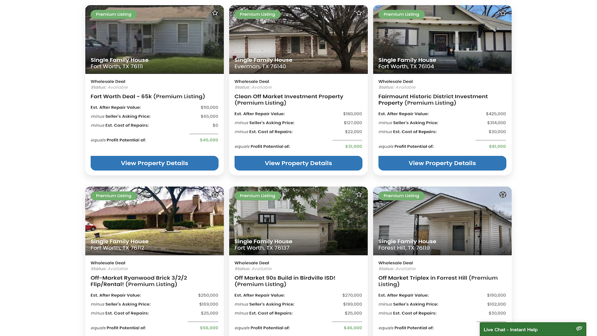 An image of six wholesale deals in the DFW Area to compare what motivated mls deals to
