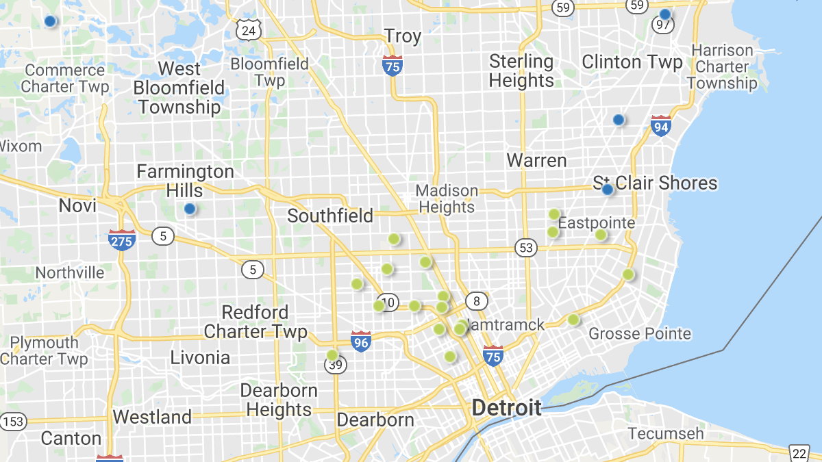 A heatmap picturing investment properties in the Detroit market area.