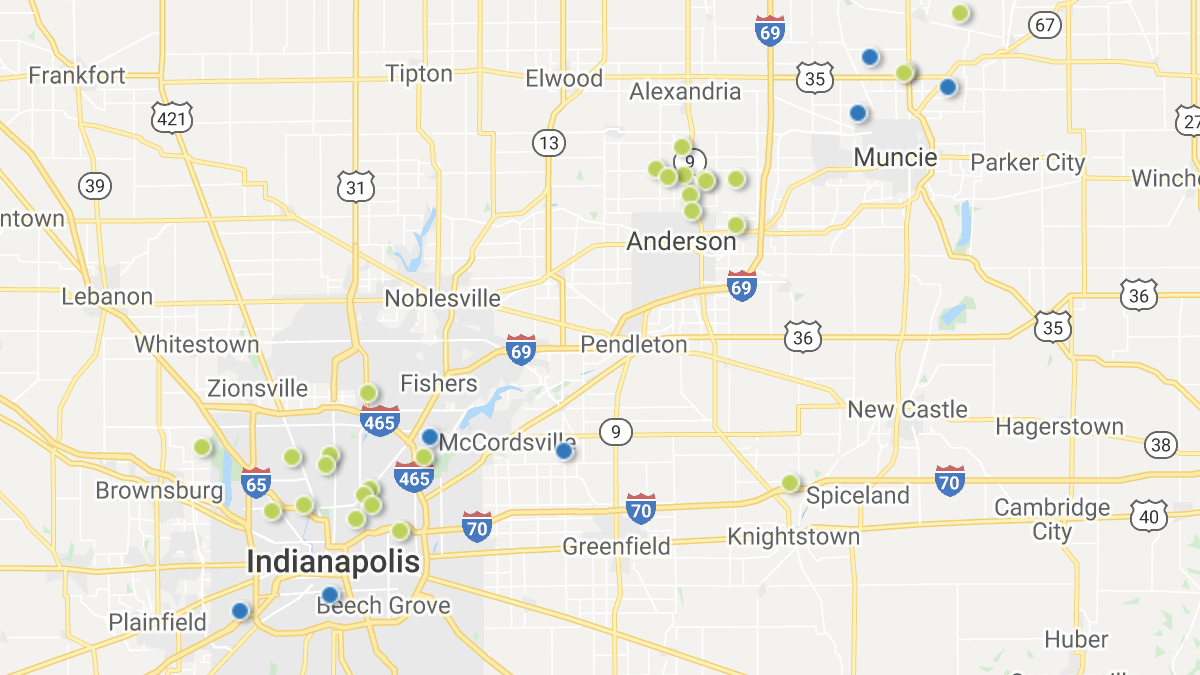 A heatmap picturing investment properties in the Indianapolis market area.
