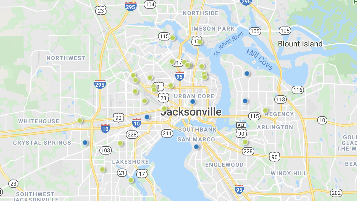 A heatmap picturing investment properties in the Jacksonville & Brunswick market area.
