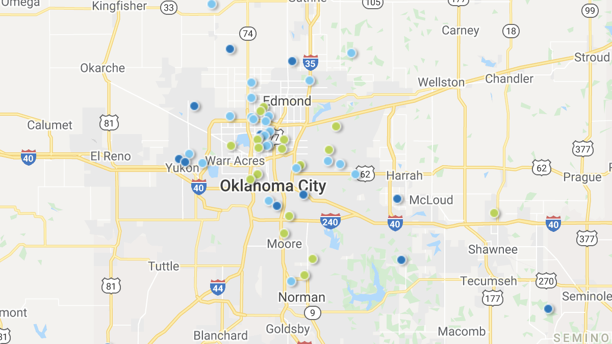 A heatmap picturing investment properties in the Oklahoma market area.