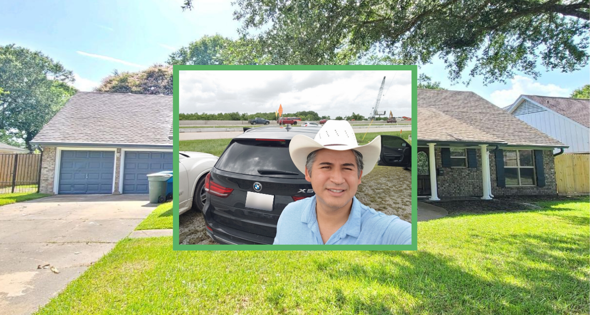 Background image of a house and its front yard with an overlaid image featuring a man in a cowboy hat standing in front of a car